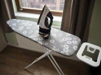 Large ironing board + Russell Hobbs 18617 Easy Store Steam Iron