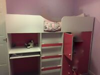 Pink and white cabin bed with desk and drawers £70