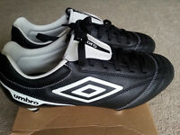 Umbro Football Boots. Black and white. Size 6. Brand new in box, never worn