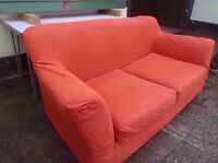 Light Red 2 Seat Fabric Washable Cover Sofa Delivery Available £15
