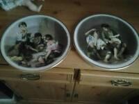 Antique english fine china pair of plates by BARTOLOME ESTEBAN MURILLO