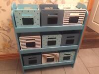Childrens Wooden Storage Unit with Removable Storage Boxes