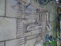 vintage garden tools and lots of them