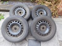Set of 4 steel wheels for Seat Exeo (with winter tyres - 2mm to 3mm tread)