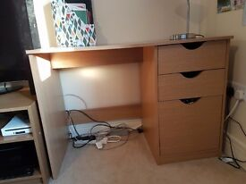 Selling Argos tv and media unit ..tall bookcase and a desk in oak effect