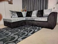 *** EXPRESS DELIVERY *** BRAND NEW JULIE CRUSH VELVET CORNER SOFA ON SPECIAL OFFER