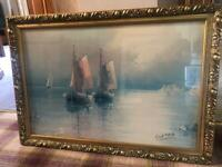 Large boats at sea picture painting with good frame