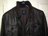 Gap Faux brown leather jacket-size L
