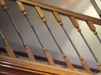 Brand new metal and wooden stair railings