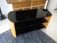 Alphason FW1000 light oak black glass tv stand /unit