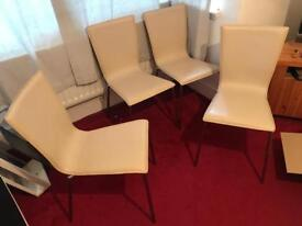 4 x steel and leather chairs