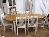 Solid Pine Extendable Dining Table And Six Chairs