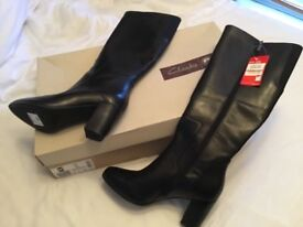Clark's brand new black leather boots size 6