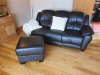 Beautiful leather sofa.s and pouffe