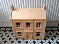 Wooden dolls house + 50 piece furniture and dolls set