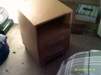 Single bedside unit with two drawers