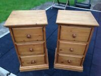 Bedsides matching pair of solid pine wood 3 drawers, both in smart, clean condition.