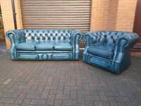 Chesterfield genuine leather 3seater sofa and chair. EXCELLENT CONDITION!BARGAIN!