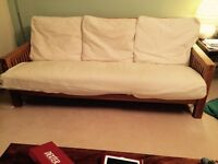 Double and three seater solid oak futon -