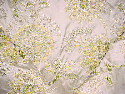 5Y BEAUTIFUL COLEFAX FOWLER SATIN EMBROIDERED FLORAL SILK UPHOLSTERY FABRIC