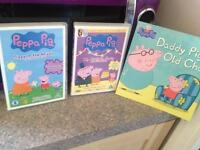 Peppa pig DVDs and daddy old pig book well looked after x
