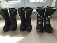 motorcycle boots. 3 pairs. Sidi black rain x2 and Oxtar x1