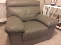 Harveys Quality Grey Genuine Leather Armchair In Excellent Condition