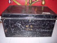 Old metal military style trunk-chest-storage-toile deed box, 1898. H. Tosh, Sons, & Cross