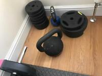 GYM WEIGHTS AND BENCH PLUS MATS