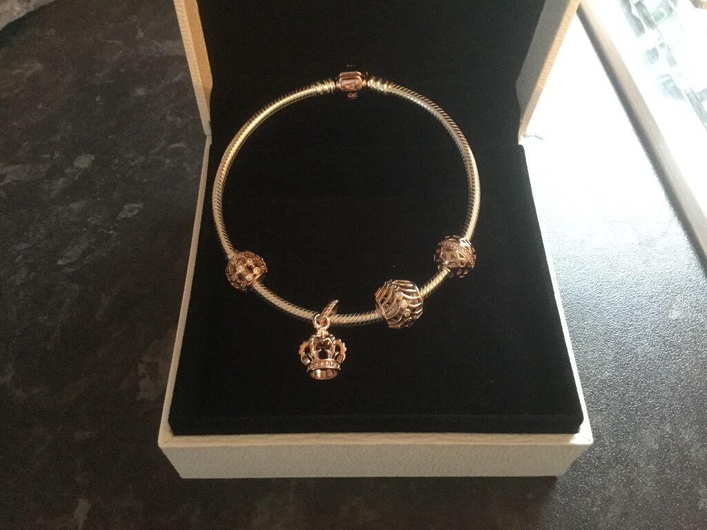 brand new pandora rose gold bracelet and charms in. Black Bedroom Furniture Sets. Home Design Ideas