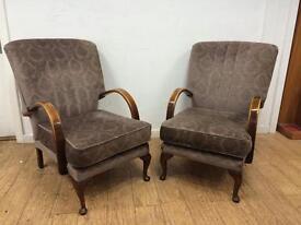Pair of vintage chairs unique shape