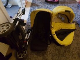 Mamas and papas zoom pram/flatbed in a limey /mustard