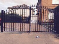Metal steel driveway gates