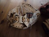 MIXTURE OF BASEBALL EQUIPMENT GLOVES BODY PROTECTOR FACE PROTECTOR ALL IN EXCELLENT CONDITION