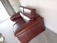 Immaculate 2 x 2 italian brown leather sofas