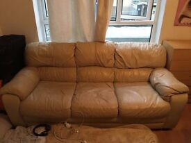 Italian Leather Cream Sofa, 3-seater, GREAT CONDITION, £100 ONO