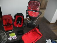 QUINNY BUZZ RED REVOLUTION, CARRYCOT,CAR SEAT AND MORE.....