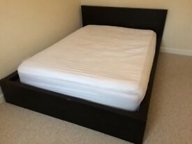 Double bed for sale, very solid wood, modern design, black
