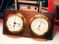 CLOCK AND BAROMETER, NAUTICAL STYLE, CIRCULAR BRASS CASINGS MOUNTED ON HARDWOOD