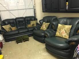 3 Piece Italian Leather Sofa with Rocking Armchair