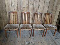 x4 G Plan Sierra [Fresco] dining chairs Danish teak era mid century modern gplanera