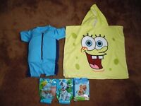 Blue Speedo Bobble Float Suit 4-5 yrs with Spongebob Hooded Towel and Disney Armbands