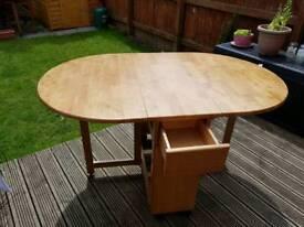 Light wood bi-fold dropleaf table (no chairs)