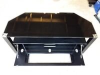 Black high gloss TV stand with cabinet
