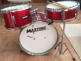 Maxtone 3 piece drum kit with 2 drum sticks