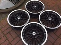 "4 x 17"" TEAM DYNAMIC ALLOY WHEELS 5x100 5x114.3 VW GOLF AUDI TT MK4 POLO HONDA LEXUS TOYOTA JAPANESE"
