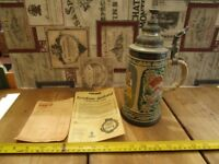 ++REDUCED++ NEVER USED.VINTAGE LARGE GERTZ WEST GERMANY LIMITED EDITION STEIN WITH PEWTER LID.
