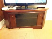 Mahogany TV Sky box Corner cabinet shelf slides glass front matching table 2 small tables fit under