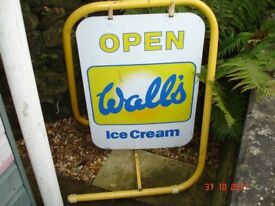 Wall's Ice Cream enamel advertising sign on its own stand