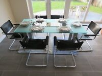 UNIQUE DESIGNER DINING TABLE & 6 LEATHER CHAIRS (originally from Selfridges)
